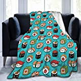 Dujiea Funny Food Sushi Fuzzy Flannel Blanket Throw 40'X50', Super Soft Lightweight Blanket Throw for Couch Chair Sofa, Cozy Bed Blanket for Kids Adults
