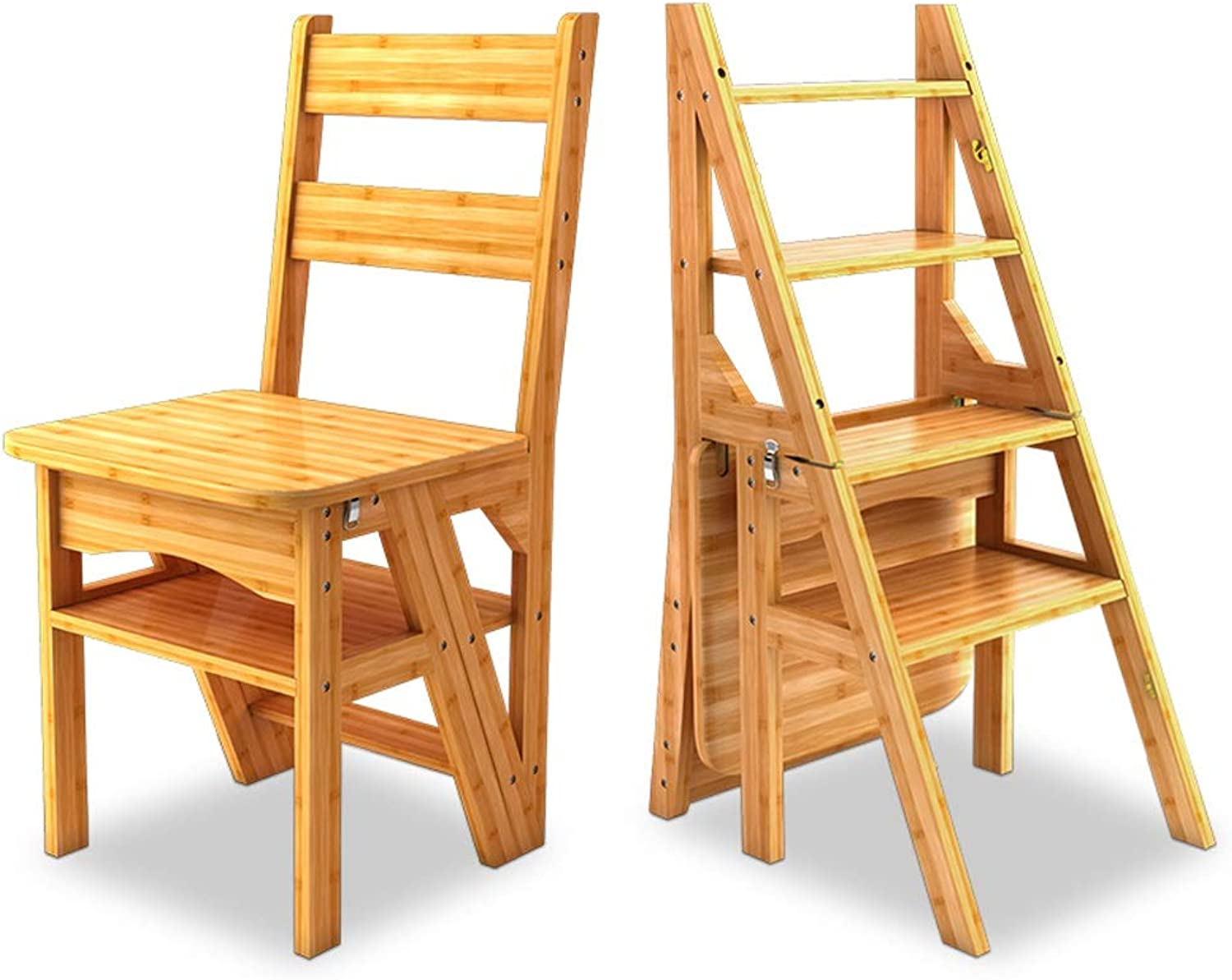 WCS American Solid Wood Dual-use Staircase Chair Herringbone Ladder Multi-function Step Stool Four-layer Climbing Ladder Home Folding Chair 40× 39 ×90cm (color   Bamboo color)