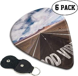 Gitaar Picks 6 stks,Inspirational Phrase On Highway On The Road Theme Travel Enthusiasm.71mm