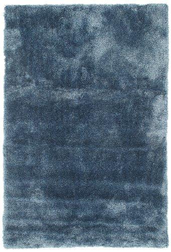 Viva 14639 Shaggy Suave Seda Alfombra, 60 x 120 cm, Azul