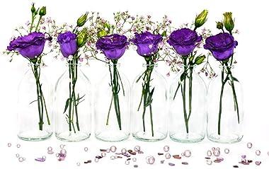 casavetro - Mini jarrón de Cristal, Botella pequeña, jarrón de Mesa, Juego de Botellas Decorativas, jarrones, decoración de B