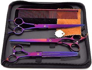 Professional Barber 8 Inch Purple Pet Scissors, 3 Sets of Beauty, Stainless Steel Scissors Tools Set Scissors (Color : Pur...