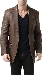BGSD Men's Brown Leather Blazer Lambskin Sport Coat Jacket (Regular Big & Tall)