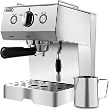 Espresso Machine Coffee Machine 15 Bar Stainless Steel Coffee Brewer with Milk Frother Wand, Package w/Free Milk Frothing Pitcher, for Cappuccino, Latte and Mocha (Stainless Steel) (Silver)