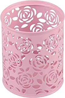Coolrunner Metal Rose Flower Hollow Pen Pencil Pot Cylinder Container Makeup Cosmetic Brushes Holder Organizer (Pink)