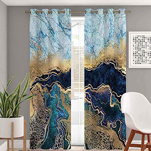 Wavy Blackout Grommet Curtains 84 Inch Length, Abstract Blue Marble Fake Stone Liquid Gold Foil and Glitter Curtains 2 Panel Set for Bedroom Living Room, 104 Inch Wide