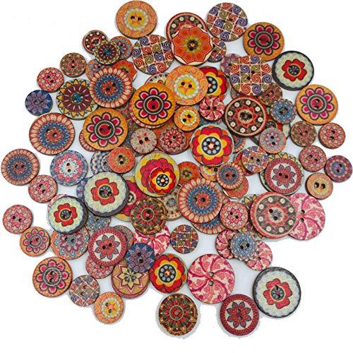 250 Piezas Botones De Madera Redondos Decorativos, Colores Pintados Botones De Madera Redonda, para Costura de Bricolaje, Ropa Artesanal, Decoración Artesanal (15mm/20mm/25mm)