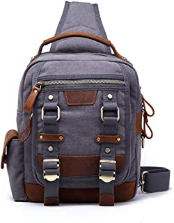 Mens Bag Cross Body Shoulder Sling Backpack Travel Hiking Chest Bag Canvas Messenger Bag High capacity
