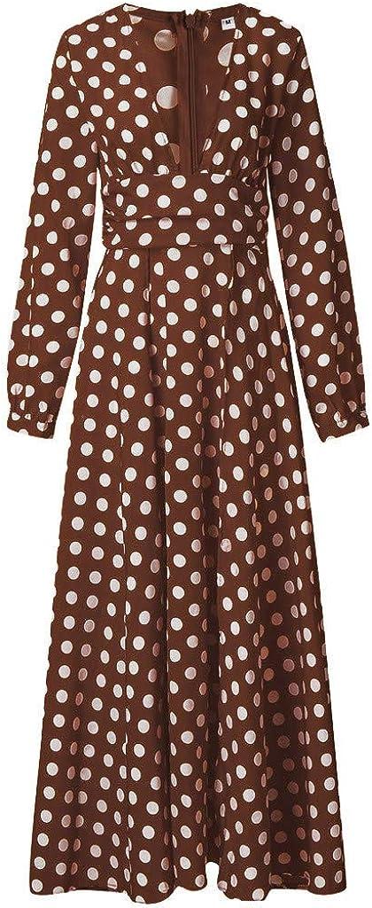 Sayhi Women's Autumn Fashion V-Neck Polka Dot Long Dress Split Slim Maxi Dress Long Sleeve Sexy Dresses
