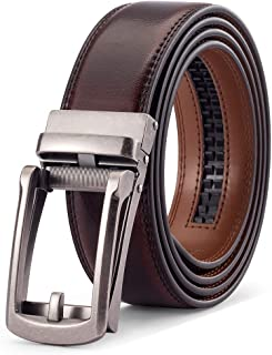 أحزمة رجالي من الجلد الأصلي بحزام سقاطة مع مشبك منزلق قابل للتعديل