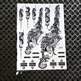 Estilos Tinta Negra Henna Etiqueta Engomada Del Tatuaje Temporal Flor Falsa Colgantes Brazo Mano Tatoo Pasta Impermeable Body Art Tattoo Stickers 6Pcs
