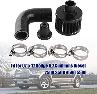 PQYRACING CCV Crank Case Vent Reroute Crankcase Ventilation Line Change Kit Delete For 07.5-17 Dodge 6.7 Cummins Diesel 2500 3500 4500 5500