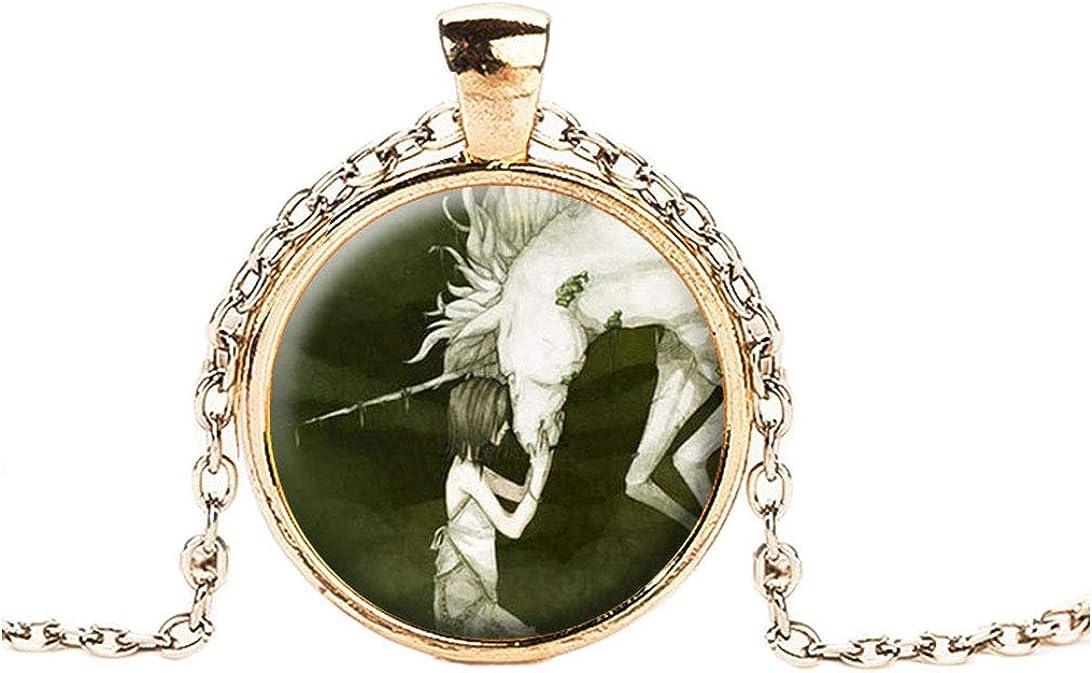 FOY-MALL Gold-Tone Metal Time Gem Horse Unicorn Pendant Necklace XL1565N