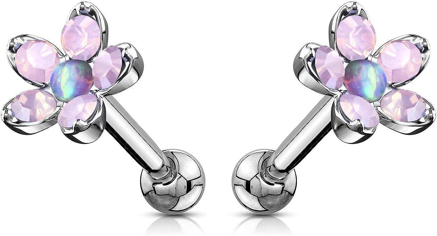 Forbidden Body Jewelry 16g Opalite Flower Tragus/Helix/Cartilage Stud Earring