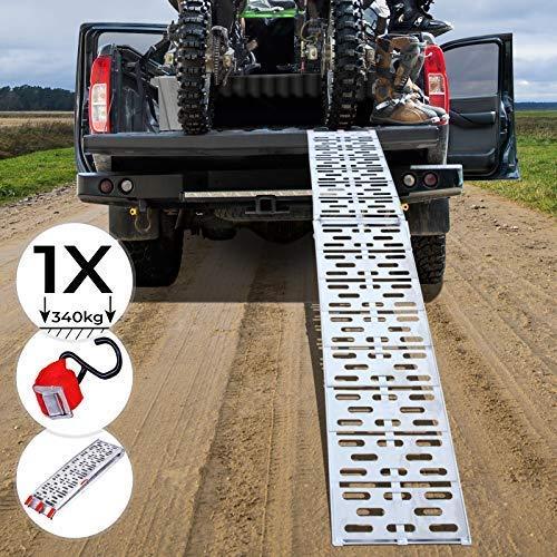 Jago® Auffahrrampe 340kg pro Rampe - 1er oder 2er Set, Aluminium, klappbar, Antirutsch - Laderampe, Auffahrschiene, Anhängerrampe, Verladerampe, Verladeschiene, Fahrrampe