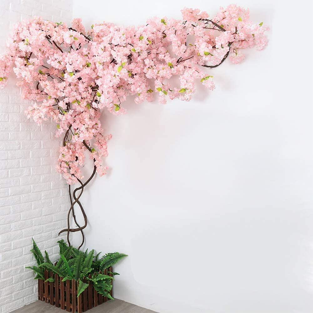 JINWEIH Light Pink 2021new shipping free Artificial Gorgeous Blossom Cherry Large-scale sale Fake Tree