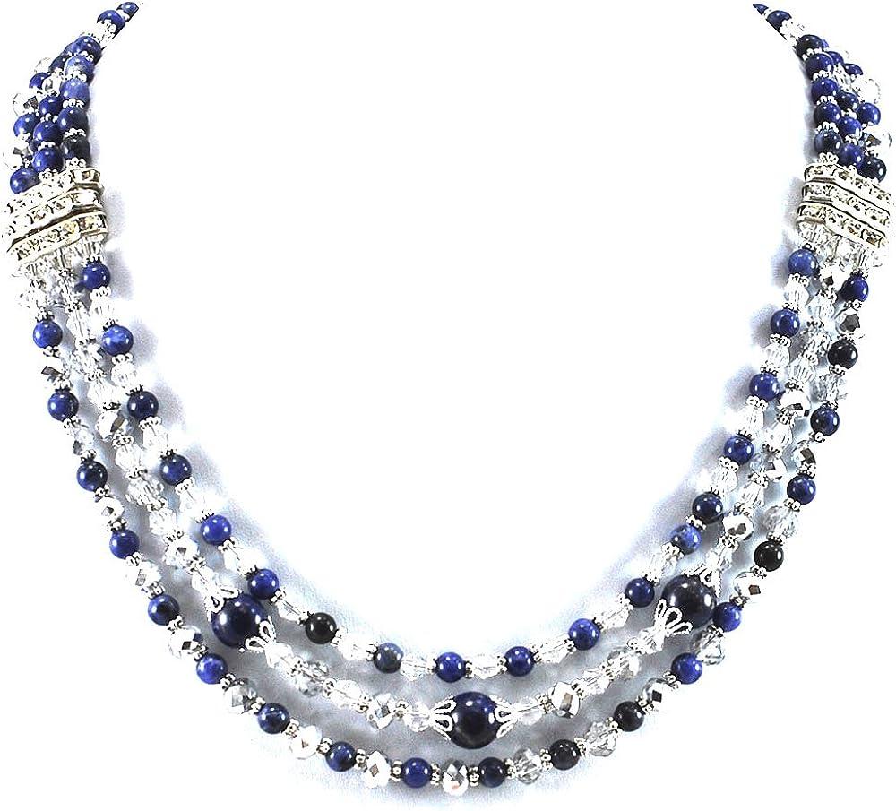 Ny6design 3 Strands Blue Sodalite Tone Crystal Necklace C Silver Boston Mall latest