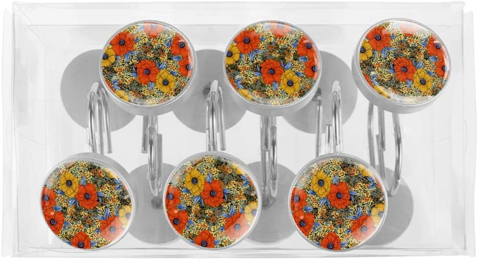 Creative Decoration UHUHUH Yellow Orange Flower Seamless Home Fashions Stainless Steel Shower Curtain Hook 12PCS