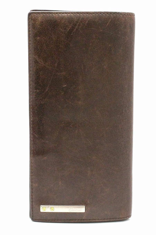 ドラッグ吸い込むトラフ[カルティエ] Cartier サントス インターナショナル ウォレット 2つ折 長財布 レザー ダークブラウン 茶 [中古]