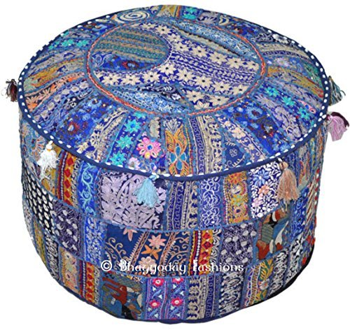 Indian Bohemian Patch work Pouf Ottoman vintage Indian Pouf Floor Stool/Foot Stool, Round Pouf Ottoman, Bean Bag, Floor Pillow Ottoman Pouf, Pouf Embroidered Pouffe Chair Bench Stool, 14x22 Inch. By Bhagyoday by BhagyodayFashions