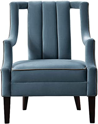 Acanva Accent Velvet Sofa Chair, Comfy Mid-Century Modern Armchair for Bedroom, Reading, Living Room with Solid Wood Legs, Haze Blue
