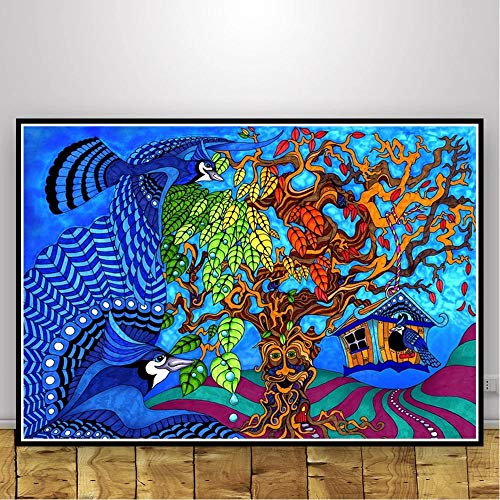 UIOLK Psicodélico Animal Abstracto psicodélico luz Negra Cartel Pared Arte Imagen impresión Pintura Lienzo Sala de Estar decoración del hogar