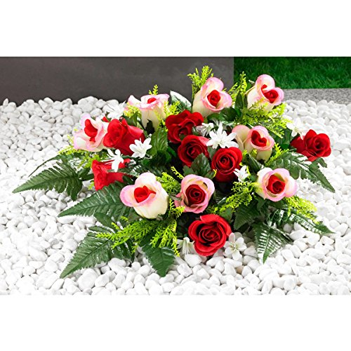 TRI Grabaufleger Rosen, Grabschmuck Kunstblumen Grabdekoration Rosenblüten Friedhofsgesteck, Blütenfreude, 60 x 25 x 7 cm, rosa & rot