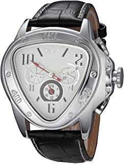 Men's Automatic Mechanical Triangle Dial Leather Band Wrist Watch - White