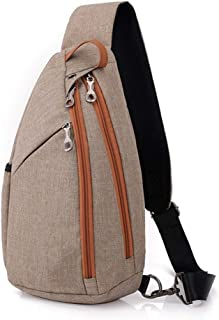 Big Capacity Polyester Durable Wear Resistant Messenger Shoulder Bag, Classic with Headphone Jack Crossbody Chest Bag Adjustable Sports Outdoor Riding Bag Hiking Men and Women Pass (Color : Khaki)