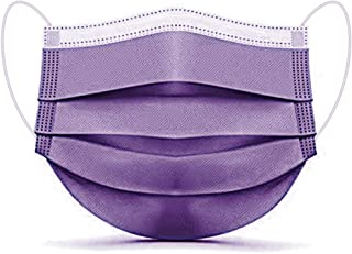 Disposable Face Mask, ESOLOM 3-Ply Facial Cover Masks with Ear Loop, Breathable Non-Woven Mouth Cover for Personal, Suitable for Home, Office, Outdoor- 50 PCS, Purple