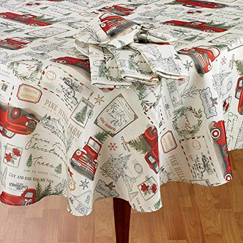 Winter Wonder Lane Vintage Red Pickup Truck Carrying Tree Fabric Tablecloth (60x120)
