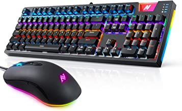 ABKONCORE A530 Gaming Mouse [4000DPI] & ABKONCORE Gaming Mechanical Keyboard K660,Wired Computer Mouse, RGB Backlit Mice with 8 Programmable Buttons,RGB Backlit Keyboard. USB Wired Computer Keyboard