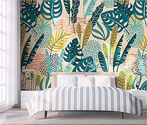 ZJfong behang 3D foto behang met de hand beschilderd tropische bladeren kleine verse muurschildering woonkamer keuken slaapkamer behang decoratie 330 x 210 cm.