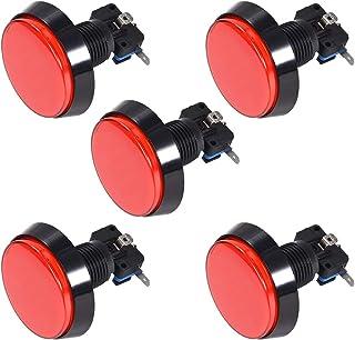 uxcell ゲームプッシュボタン60mm丸型 12V LED イルミネーション押しボタンスイッチマイクロスイッチ付きアーケードビデオゲーム用 赤 5個