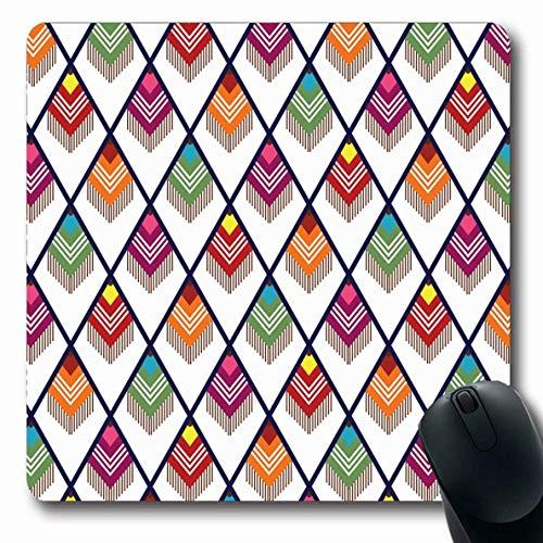 Mausemat Rosa Blau Mode Südlich Braun Grün Südwestlich Muster West Quaste Design Orange Formen Süd Gummi 25X30Cm Mousepad Oblong Rutschfeste Büromausmatte Gedruckte Computer-Lapto