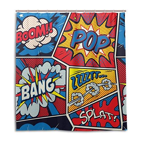 mydaily Retro Pop Art Comic Duschvorhang 167,6x 182,9cm, schimmelresistent und Wasserdicht Polyester Dekoration Badezimmer Vorhang