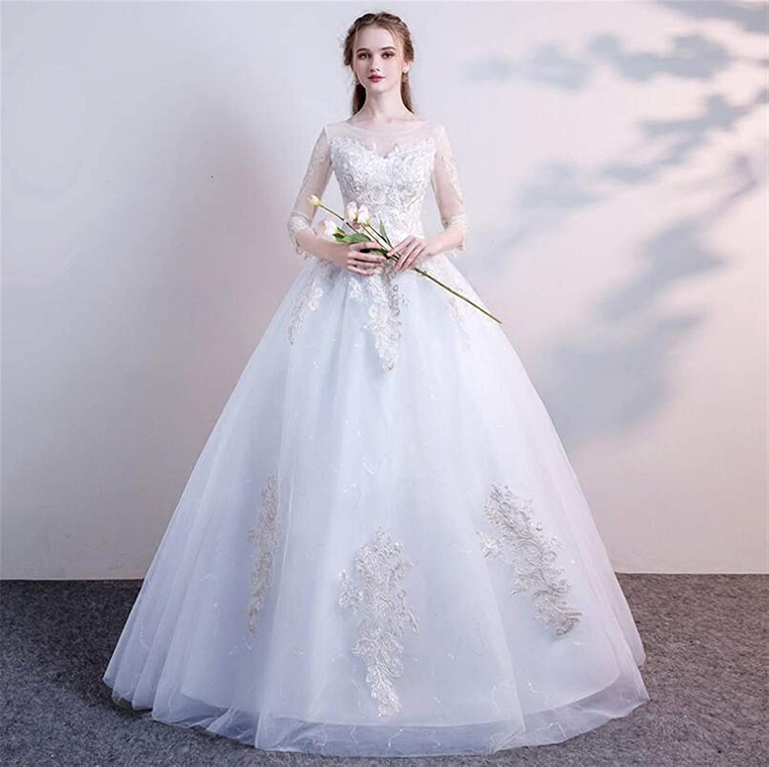 New Wedding Dress, One Shoulder Winter Bride Simple Princess Dream Long Sleeve Ground Light