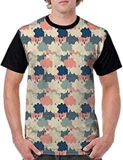 Womens Short Sleeve T-Shirt,Home Decor,Artisan Rain Cloudbursts Set Monsoon Air in Atmosphere Meteorology Art Illustration,Multi S-XXL Baseball Print Casual O-Neck Tops