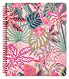 Vera Bradley Large Spiral Notebook, College Ruled Paper, 11' x 9.5' with Pocket and 160 Lined Pages, Rain Forest Canopy Pink
