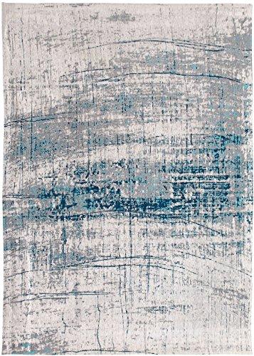 Louis de Poortere GRIFF tapijt, katoen, grijs/blauw, 90x60x0,03 cm