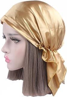 4f7dc0b155d223 Woman Head Wrap Chemo Hat Night Cap Turban Glossy Solid Color Elastic