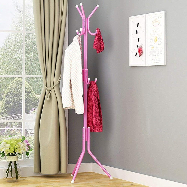 DYR 9 Metal Hooks hat Hanger Clothes Stand Clothes Hanger Standing Bag Standing Rack for Bathroom Living Room (color  Pink)