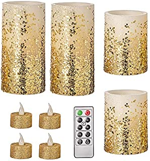 Darice Ivory/Gold, Battery-Operated LED Candle Set: Glitter, Remote Included, 9 Pieces