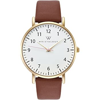 WRISTOLOGY Olivia Gold Womens Watch - for Nurses Large Face Analog Easy to Read Numbers with Second Hand Brown Leather Band