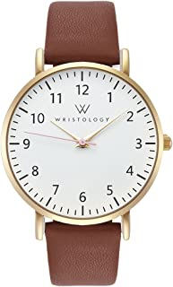 Olivia Gold Womens Watch - for Nurses Large Face Analog Easy to Read Numbers with Second Hand Brown Leather Band