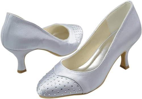 Hhoro zapatos de Boda para mujer de Novia para mujer, con Cristales de tacón, satinados (Color   plata-6.5cm Heel, tamaño   8.5 UK)