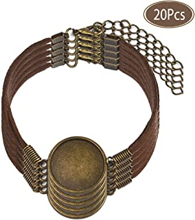 "Braided Leather Bracelet with Blank Cabochon Bezel Tray Jewelry Making Kit Adjustable Rope Wristband Fit 0.78"" 20Pcs"