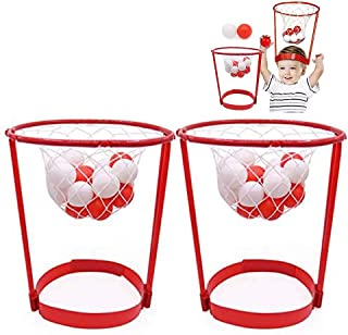2 Pack Head Hoop Basketball Party Game for Kids and Adults Carnival Game Adjustable Basket Net Headband with 20 Balls for ...