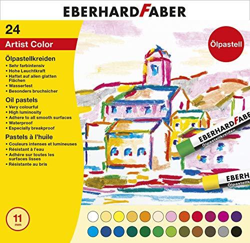 Eberhard Faber 522024 - Artist Color Ölpastellkreiden in 24 leuchtenden Farben, bruchsicher, im Kartonetui, für modernes Grafikdesign, feine Zeichnungen und farbstarke Aquarelle