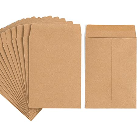 100 Pack Kraft Small Coin Envelopes Self-Adhesive Seed Envelopes Mini Parts Small Items Stamps Storage Packets Envelopes for Garden, Office or Wedding Gift (Brown, 3.23×4.53 inch)